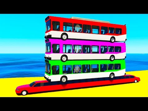 COLORS BUS on LONG Car and Spiderman for Children in Color Cars Cartoon for Kids w Nursery Rhymes
