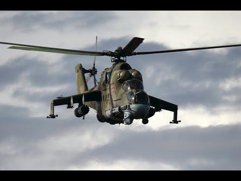 Работа МИ-24 ВКС РФ  и ВВС Сирии около Пальмиры