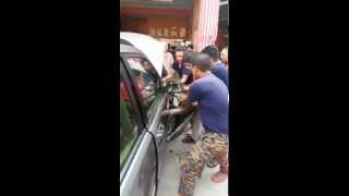 Huge Snake Trapped in the Car Wheels! Must watch!