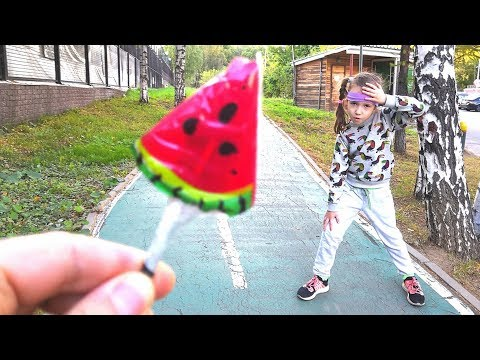 Sport vs Candy Ulya Takes a Lollipop for Sports Exercises