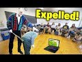kid gets caught playing fortnite in school.. (EXPELLED)