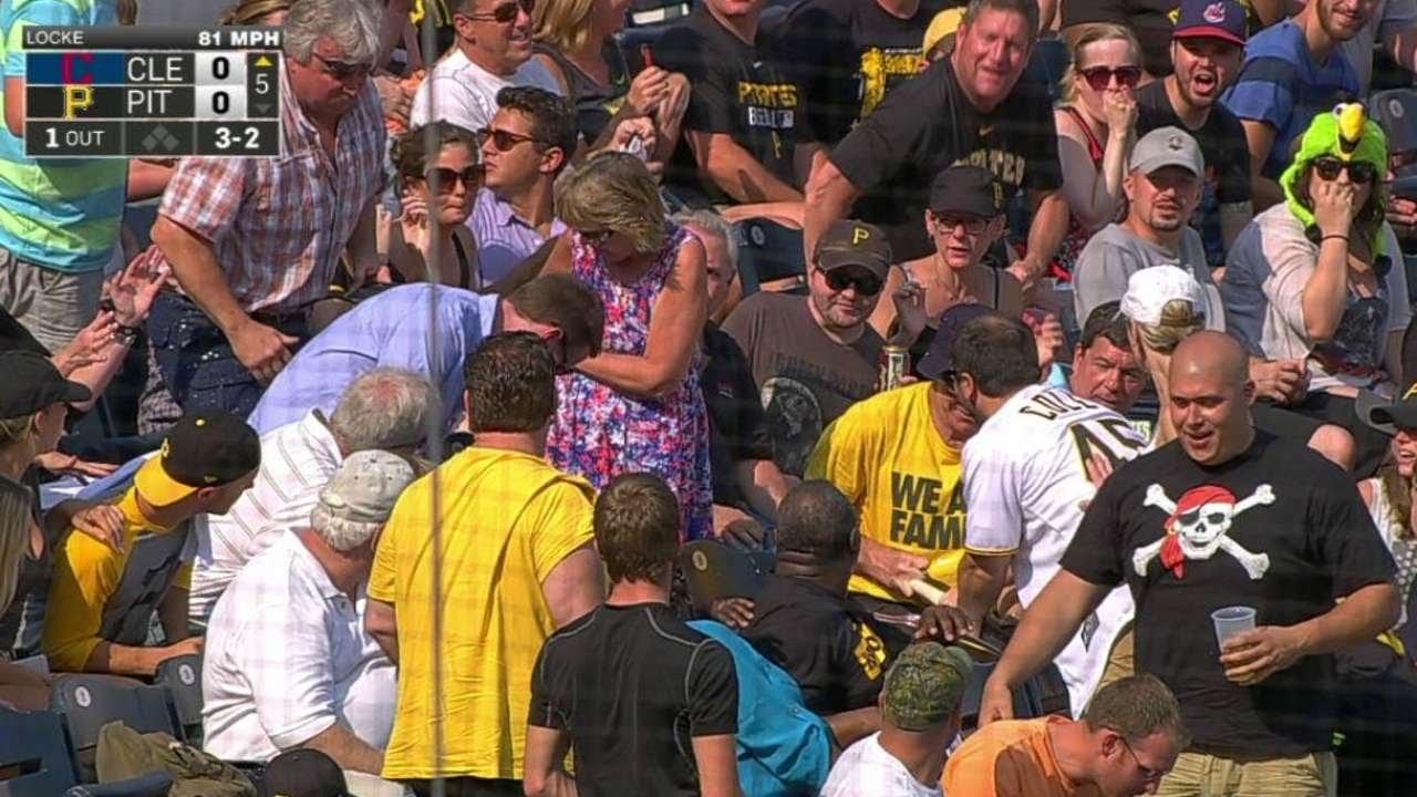 CLE@PIT: Locke fans Urshela, sends bat into stands