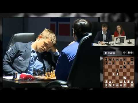 Carlsen slept for 10 sec after Anand's 4th move (World Chess Championship 2014 - Game 8)
