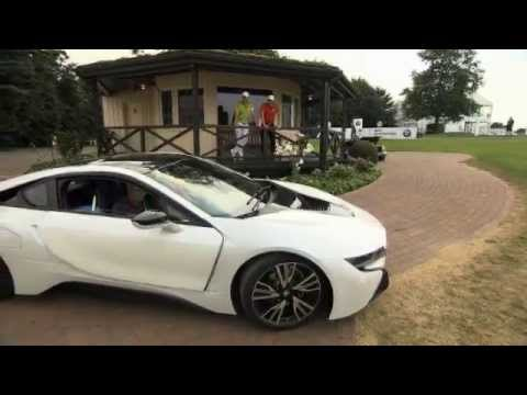 Bmw i8 races Golf cart