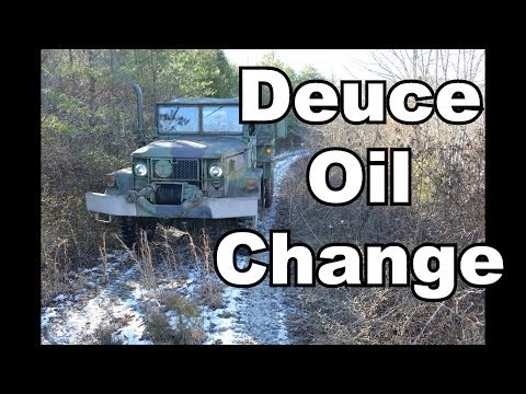 M35A2 Deuce and a half engine oil change.