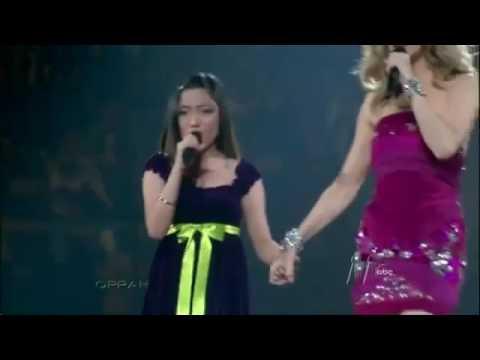 Une jeune fille timide vole la vedette à Céline Dion