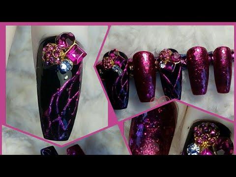 Purple - burgundy black coffin gel nails