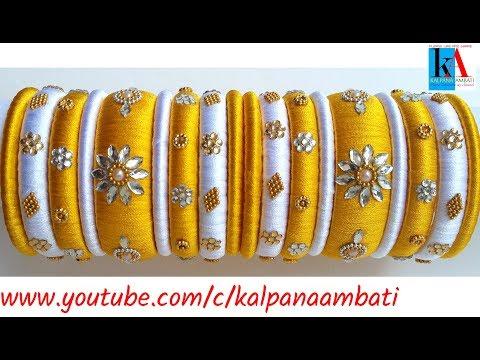 Latest Designer Bridal Silk Thread Bangles Set Making    Wedding bangles tutorial