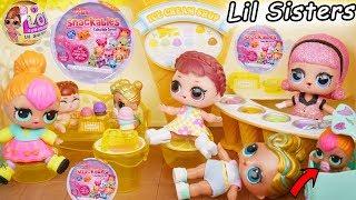 Fake LOL Surprise Dolls Dress Up + LQL Lil Sisters Fizz Shell Water DIY, Confetti Pop Num Noms!