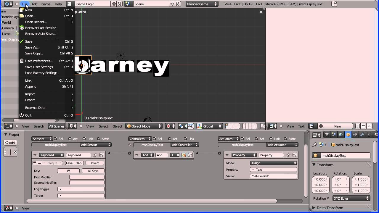 Blender game engine display text