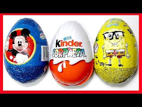 3 HUEVOS SORPRESA. MICKY MOUSE. BOB ESPONJA Y MAGIC KINDER SORPRESA COLECCIÓN 2013. KINDER SURPRISE