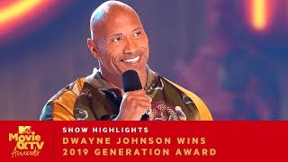 'Bring Everybody With You' Dwayne Johnson Wins 2019 Generation Award | 2019 Movie & TV Awards