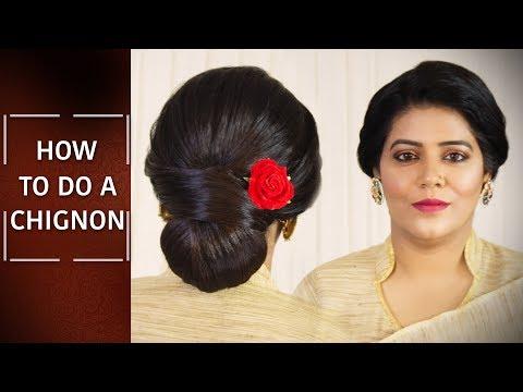 How to do Chignon Hairstyle | Step By Step Hair Bun Tutorial | Easy Hair Updo | Chandni Singh