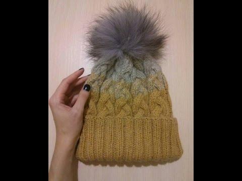Как вязать шапку с отворотом с косами