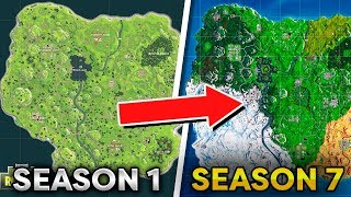 Fortnite Map Evolution - Season 1 to Season 7