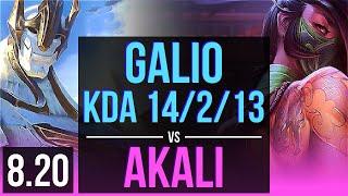GALIO vs AKALI (MID) | KDA 14/2/13, Legendary | Korea Challenger | v8.20