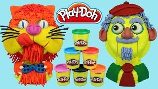 Play-Doh Play-Tetes Heads Playset, Play doh Cat and old Man