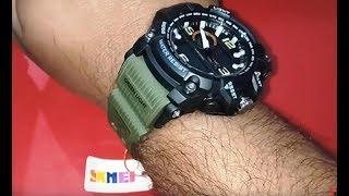 fake Skmei Analogue-Digital Black Dial Military Green  Skm-1283-Green ?? |  Unboxing & Setting