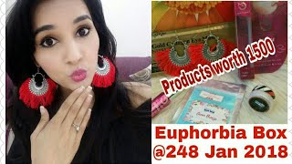 Euphorbia Box January 2018 | 5 Products worth 1400+ @248 | FREE Face wash | Unboxing & Review