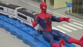 đồ chơi siêu nhân người nhện xe lửa Spiderman Rescue Train Toys 스파이더맨 장난감