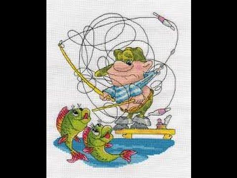 Вышивка крестиком рыбалка схема 70