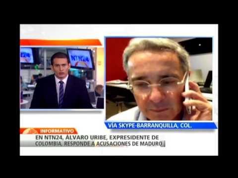 Expresidente Álvaro Uribe responde en NTN24 las acusaciones de Nicolás Maduro