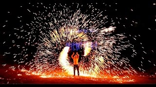 Fire sparkle Poi Show - Pernera Beach Hotel - Sparkling Metal wool poi 2014 - GMike