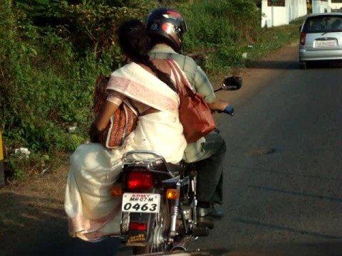 Traffic on local roads in Goa, India