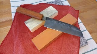 Sharpening japanese kitchen knife with Tyrolit 400 & 1200 grit stones