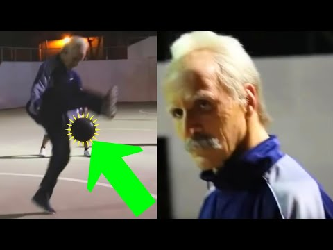 Football Freestyler Sean Garnier dresses up as a Grandpa to play in a pick-up game