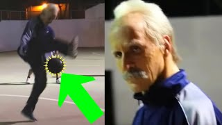 Football Freestyler dresses up as a Grandpa to play in a pick-up game
