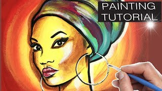 How To Paint AFRICAN WOMAN. Painting Tutorial BLACK ART Step by step