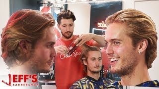 HOW TO GET HAIR LIKE A MALE MODEL | Jeff's Barbershop ft. Neels Visser
