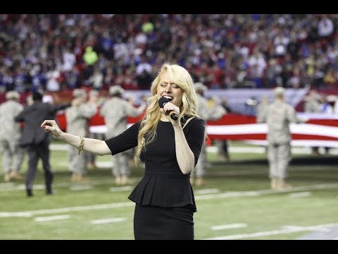 ATL Falcons Star Spangled Banner, Heather Graham