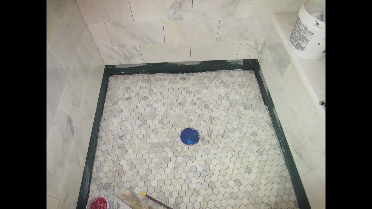 marble carrara tile bathroom part 5 installing the shower floor youtube. Black Bedroom Furniture Sets. Home Design Ideas