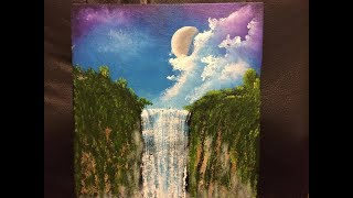 How to paint the moon over a waterfall,  Moon Falls