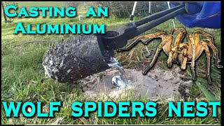 Casting a TRAPDOOR / WOLF SPIDERs nest out of MOLTEN ALUMINIUM!  -  Creating the cthulhu tenticle