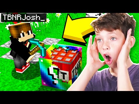 TROLLING MY LITTLE BROTHER IN MINECRAFT WITH RAINBOW LUCKY BLOCKS! *RAGE WARNING*