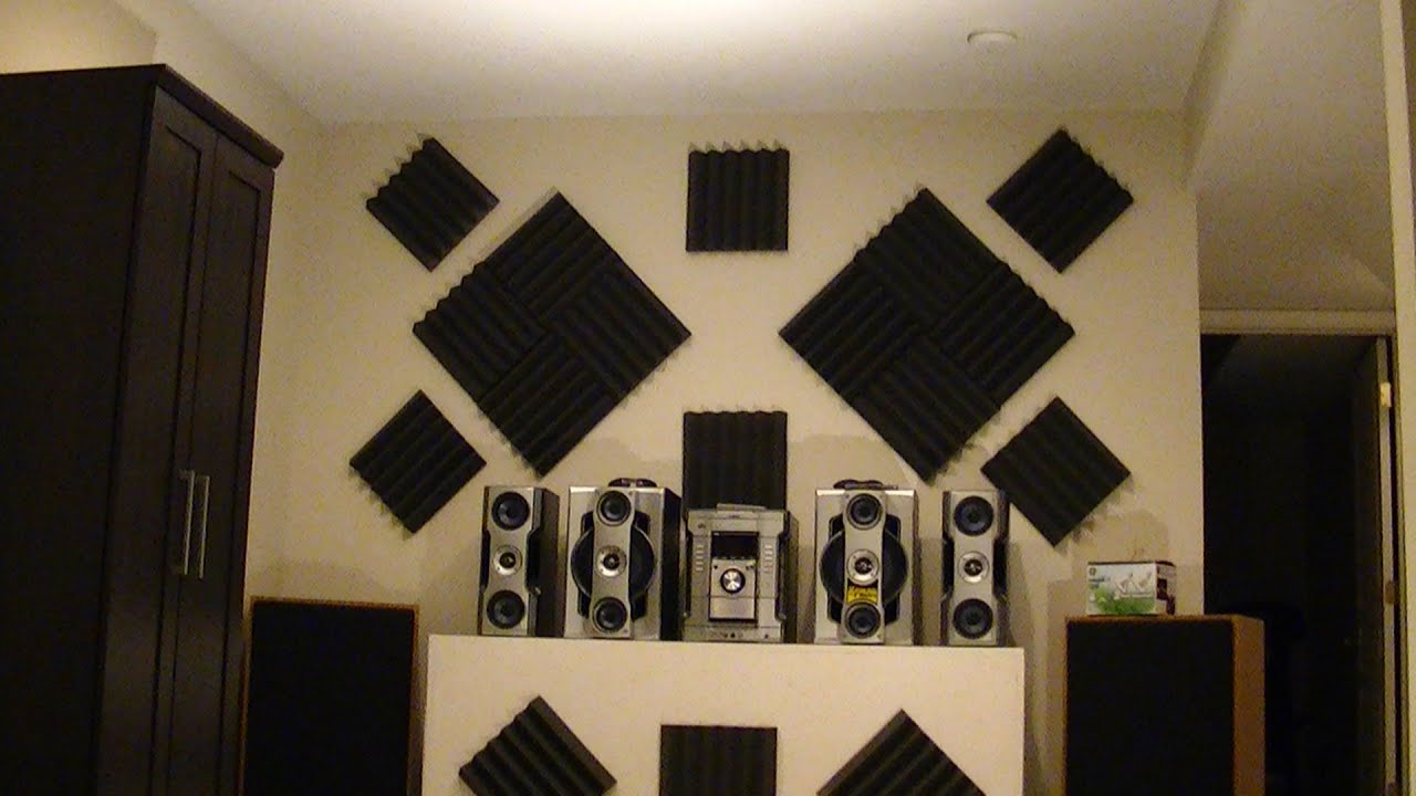 How to hang acoustic foam tiles on wall the easy way youtube for Sound proof wall padding