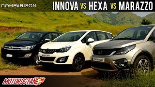 Mahindra Marazzo vs Tata Hexa vs Toyota Innova Crysta Comparison | Hindi | MotorOctane