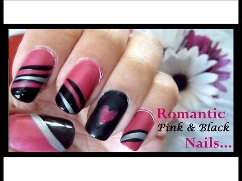 Pink & Black Heart Nails