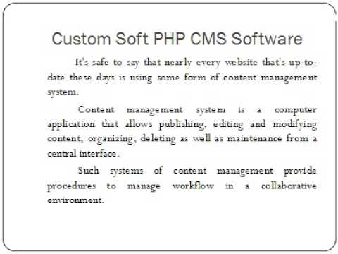 Custom Soft PHP CMS Software ppt