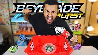 BEYBLADE BATTLEING WITH THE WORLDS MOST POWERFUL BEYBLADE LAUNCHER!! *POWER TOOL MOD* (INCREDIBLE!!)