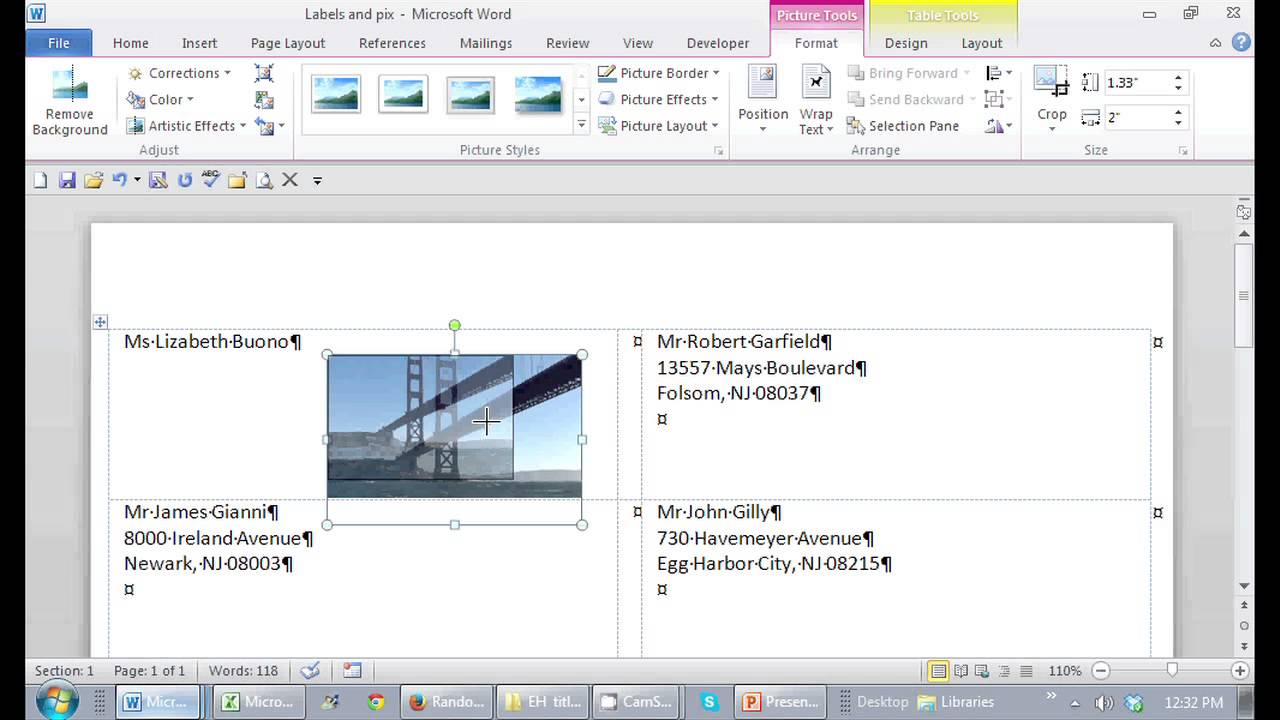 how to put a picture on a mailing label in microsoft word