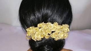 Gold flowers Gajra / Veni Making with lace ribbon