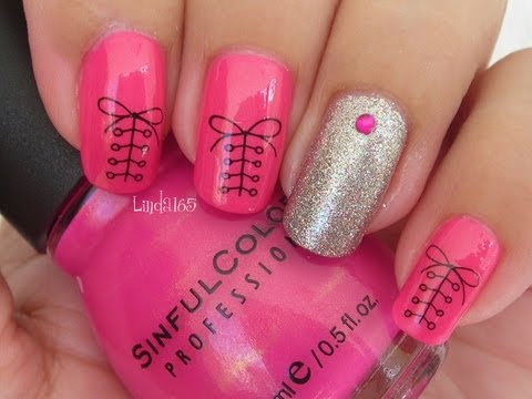 Nail Art - Cute Shoelace Water Decal - Decoracion de Uñas con Calcomanías