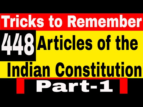 Articles of the constitution of India   GK Tricks to Remember ALL 395 Articles   Part - 1