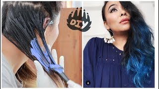 How to Color Your Hair At Home | DIY Blue Hair