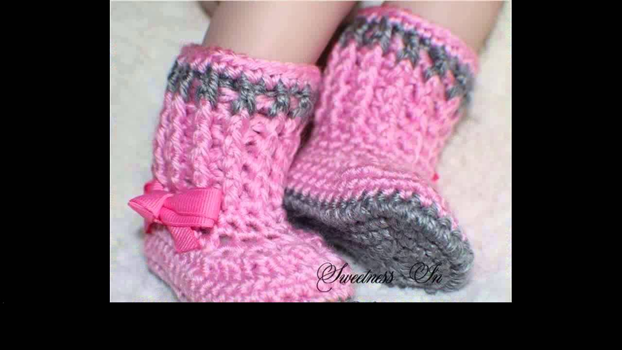 Free Crochet Boot Pattern For Toddlers : crochet baby booties free pattern - YouTube