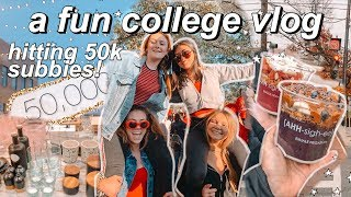 college vlog: hitting 50k subscribers!!